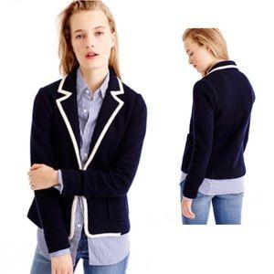 J. Crew Navy Tipped Merino Wool Blazer Jacket